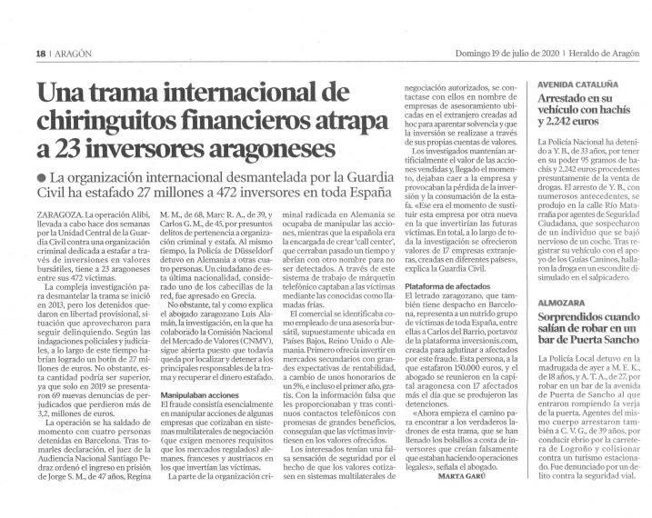 Heraldo de Aragón Fraude Internacional